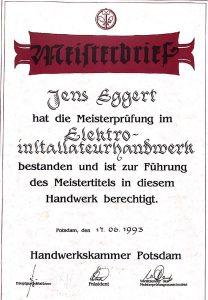Meisterbrief Jens Eggert, 1993