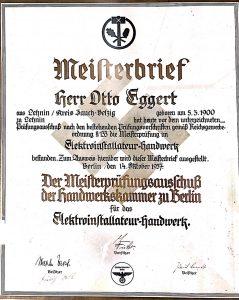 Meisterbrief Otto Eggert, 1937