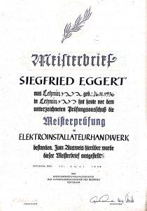 Meisterbrief Siegfried Eggert, 1958